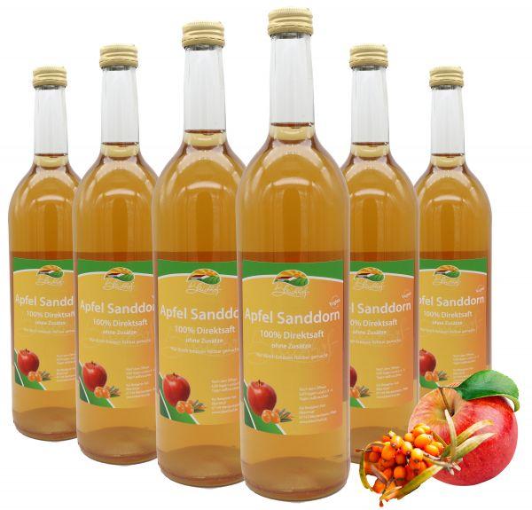 Bleichhof Apfel-Sanddorn Saft – 100% Direktsaft, naturrein und vegan, OHNE Zuckerzusatz, 6er Pack (6x 0,72l)