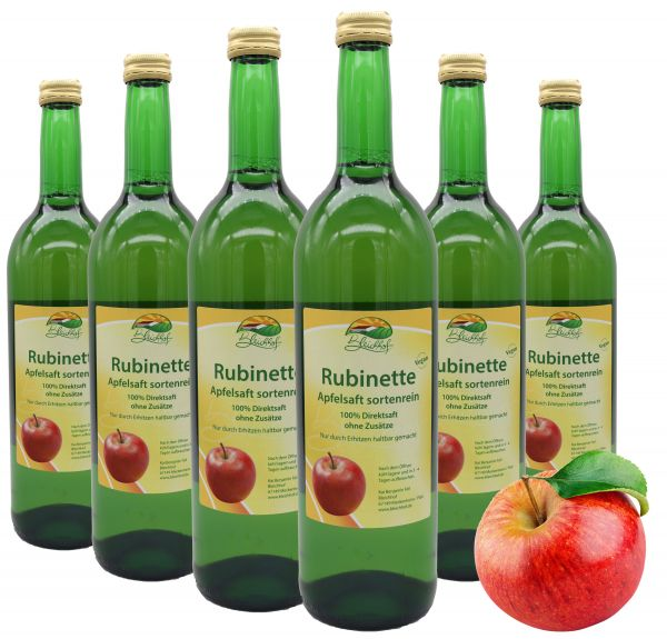 Bleichhof Apfelsaft Rubinette — 100% Direktsaft, sortenrein, OHNE Zuckerzusatz, vegan, 6er Pack (6 x 0,72l)