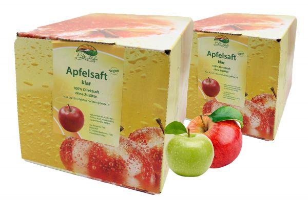Bleichhof Apfelsaft klar – 100% Direktsaft, OHNE Zuckerzusatz, Bag-in-Box mit Zapfsystem (2x 5l Saftbox)