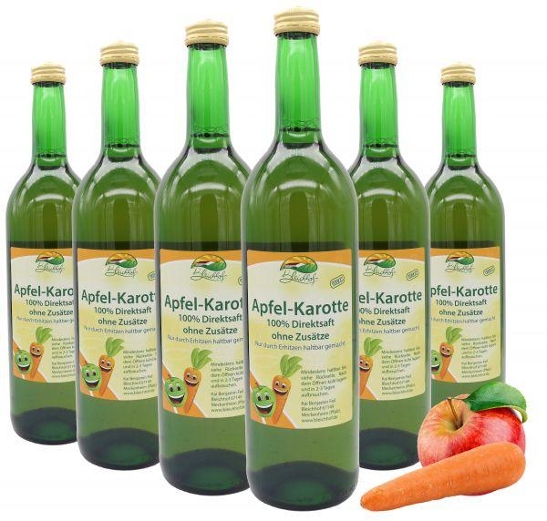 Bleichhof Apfelsaft mit Karottensaft – 100% Direktsaft, naturrein und vegan, OHNE Zuckerzusatz, 6er Pack (6x 0,72l)