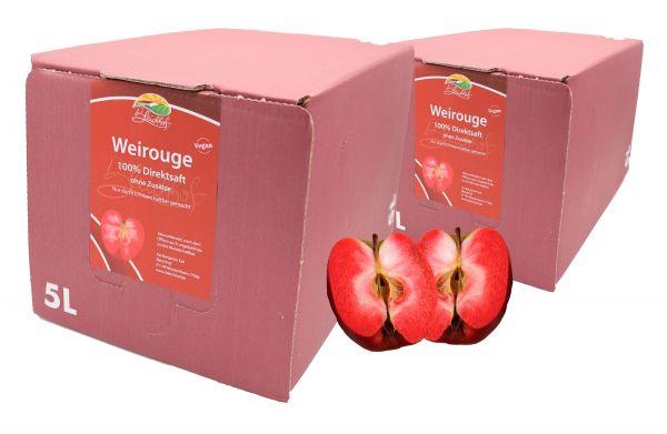 Bleichhof Apfelsaft Weirouge – 100% Direktsaft, OHNE Zuckerzusatz, Bag-in-Box mit Zapfsystem (2x 5l Saftbox)