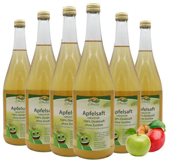 Bleichhof Apfelsaft naturtrüb – 100% Direktsaft, naturrein und vegan, OHNE Zuckerzusatz, 6er Pack (6x 0,95l)