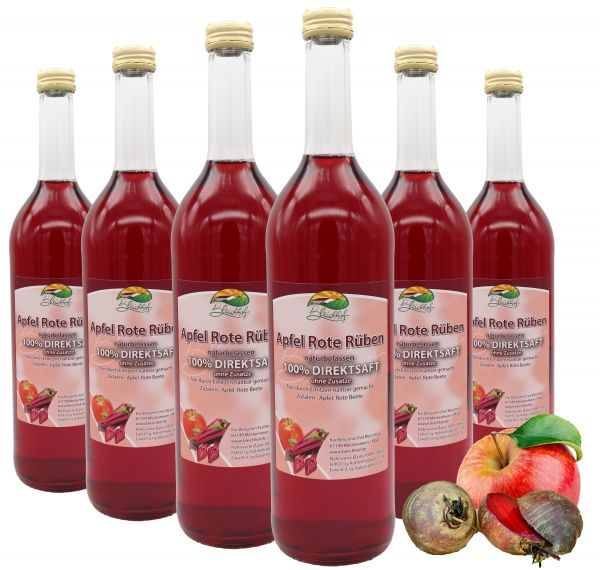 Bleichhof Apfelsaft mit Rote-Rüben Saft – 100% Direktsaft, naturrein und vegan, OHNE Zuckerzusatz, 6er Pack (6x 0,72L)