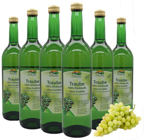 Bleichhof Traubensaft (weiß) – 100% Direktsaft, naturrein und vegan, OHNE Zuckerzusat, 6er Pack (6x 0,72l)