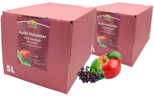 Bleichhof Apfel-Holunder Direktsaft – 100% Direktsaft, OHNE Zuckerzusatz, mit Zapfsystem (2x 5l Saftbox)