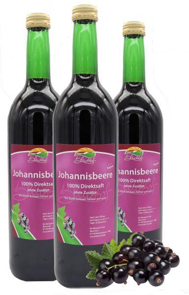 Bleichhof Schwarzer Johannisbeersaft – 100% Direktsaft, vegan, OHNE Zuckerzusatz, 3er Pack (3x 0,72l)