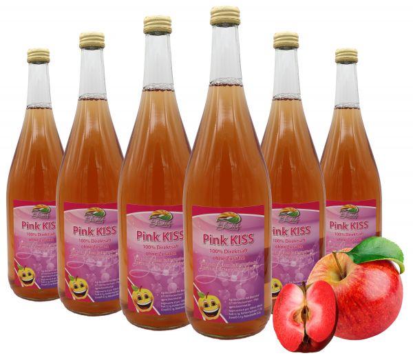 Bleichhof Apfelsaft Pink Kiss – 100% Direktsaft, mit 10% Weirouge (rotfleischiger Apfel), 6er Pack (6x 0,95l)