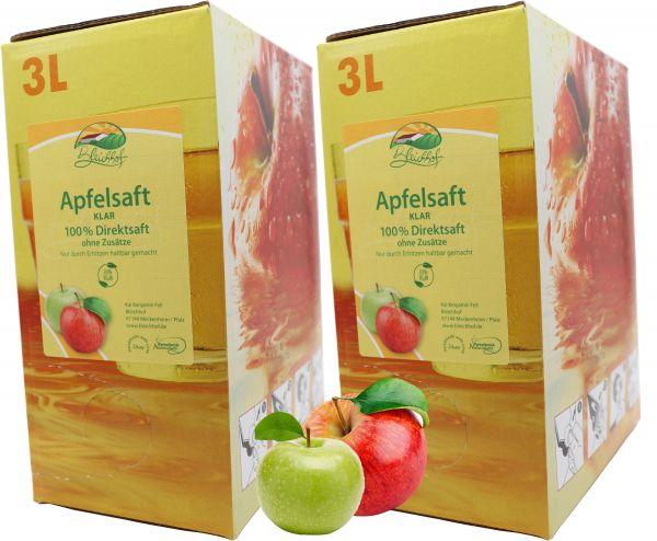 Bleichhof Apfelsaft klar – 100% Direktsaft, vegan, OHNE Zuckerzusatz, Bag-in-Box (2x 3l Saftbox)