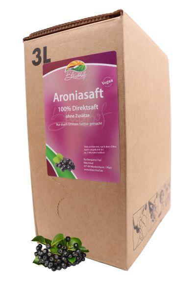 Bleichhof Aroniasaft – 100% Direktsaft, vegan, OHNE Zuckerzusatz, Bag-in-Box mit Zapfsystem (1x 3l Saftbox)