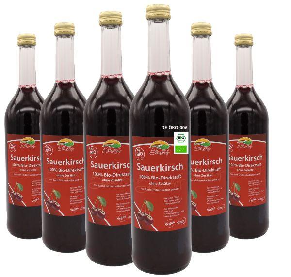 Bleichhof Bio-Sauerkirschsaft (6x 0,72l) – 100% Direktsaft, bio, naturrein & vegan. OHNE Zuckerzusatz.
