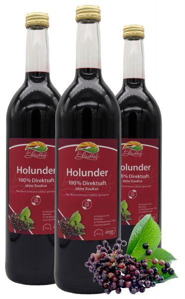 Bleichhof Holundersaft – 100% Direktsaft, naturrein und vegan, OHNE Zuckerzusatz, 3er Pack (3x 0,72l)
