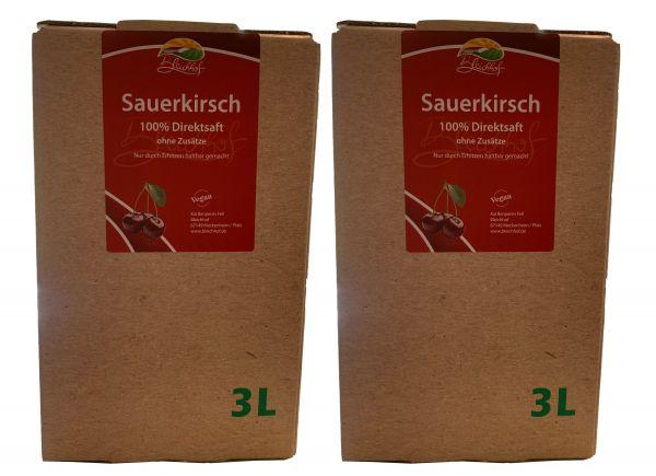Bleichhof Sauerkirschsaft – 100% Direktsaft OHNE Zuckerzusatz, Bag in box (2x 3l)