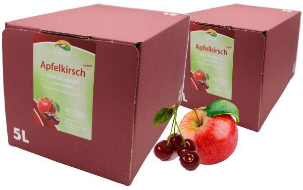 Bleichhof Apfel-Kirsch Direktsaft – 100% Direktsaft, vegan, Bag-in-Box mit Zapfsystem (2x 5l Saftbox)