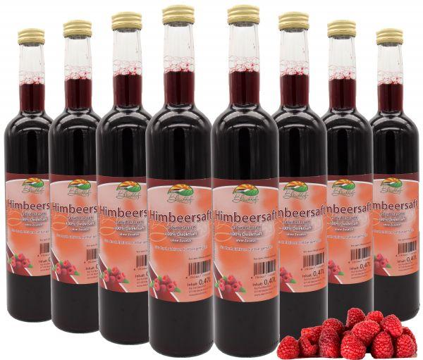 Bleichhof Himbeersaft — 100% Direktsaft, naturrein und vegan, OHNE Zuckerzusatz, 8er Pack (8x 0,47l)