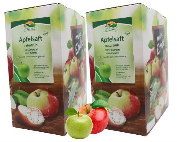 Bleichhof Apfelsaft naturtrüb – 100% Direktsaft, vegan, OHNE Zuckerzusatz, Bag-in-Box (2x 3l Saftbox)