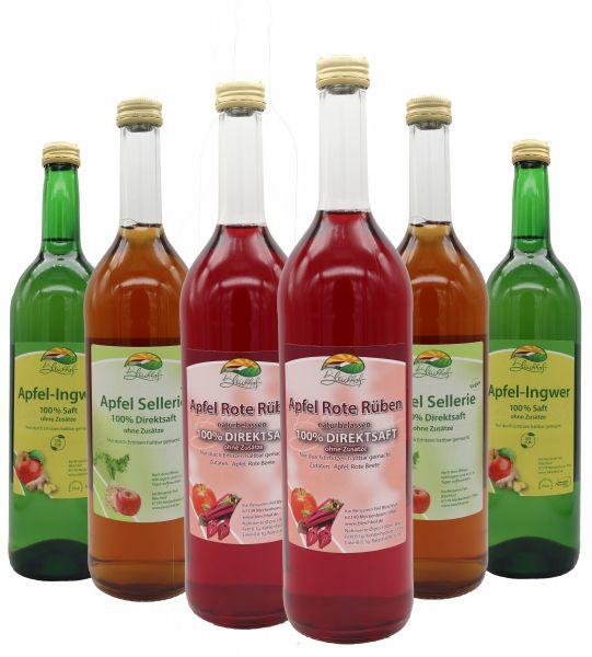 Bleichhof Apfelmischsäfte mit Gemüse - 2x Apfelsaft mit Ingwersaft 0,72L, 2x Apfelsaft mit Rote Rübensaft 0,72L, 2x Apfelsaft mit Selleriesaft 0,72L (6x0,72L)