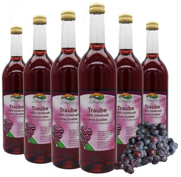 Bleichhof Traubensaft (rot) – 100% Direktsaft, naturrein und vegan, OHNE Zuckerzusatz, 6er Pack (6x 0,72l)