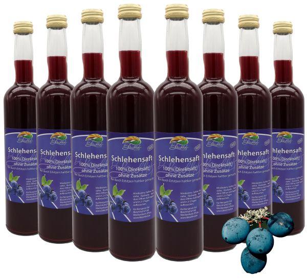 Bleichhof Schlehensaft – 100% Direktsaft, naturrein und vegan, OHNE Zuckerzusatz, 8er Pack (8x 0,47l)