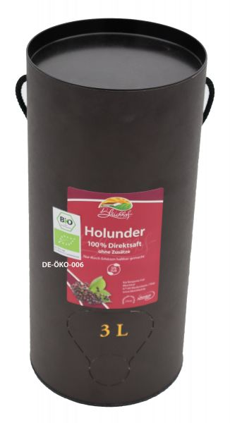 Bleichhof Bio Holundersaft – 100% Direktsaft, vegan, OHNE Zuckerzusatz, Bag-in-Box mit Zapfsystem (1x 3l Saftbox)