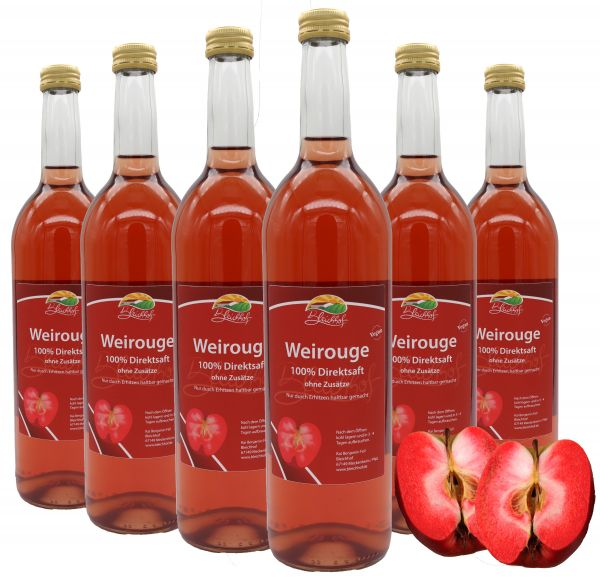 Bleichhof Apfelsaft Weirouge – 100% Direktsaft, naturrein und vegan, OHNE Zuckerzusatz, 6er Pack (6x 0,72l)
