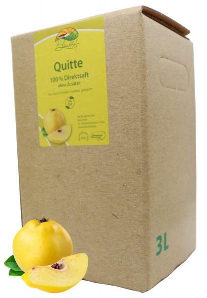 Bleichhof Quittensaft – 100% Direktsaft ohne Zusätze, Bag-in-Box Verpackung mit Zapfsystem (1x 3l Saftbox)