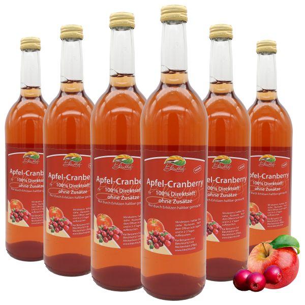 Bleichhof Apfel-Cranberry Direktsaft – 100% Direktsaft, vegan, OHNE Zuckerzusatz, 6er Pack (6x 0,72l)