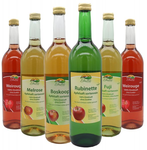 Bleichhof sortenreine Apfelsäfte - 2x Weirouge 0,72L, Boskoop 0,72L, Rubinette 0,72L, Melrose 0,72L, Fuji 0,72L (6x 0,72L)