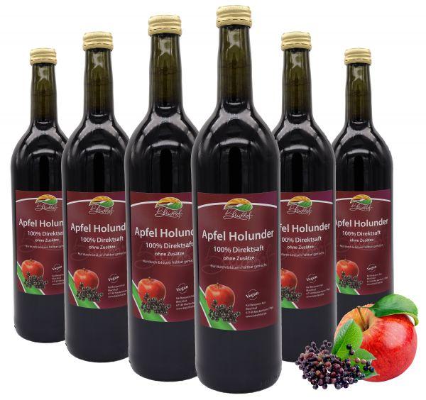 Bleichhof Apfel-Holunder Saft – 100% Direktsaft, naturrein und vegan, OHNE Zuckerzusatz, 6er Pack (6x 0,72l)